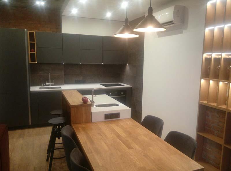 маленькая кухня лофт модульная с освещением